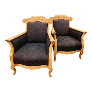 Biedermeier Olive Wood Armchairs - a Pair