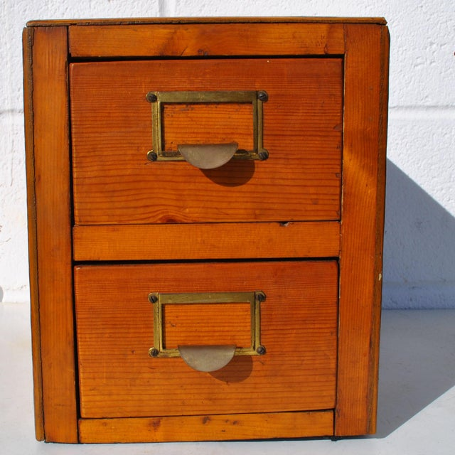 Industrial 1960s Industrial 2 Drawer Table Top Wooden Card File For Sale - Image 3 of 7