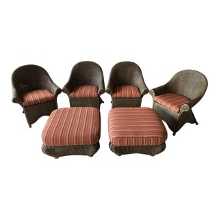 Rattan Patio Chairs and Ottomans - Set of 6 For Sale