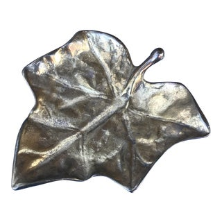 Solid Brass Mid-Century Modern Leaf Shaped Catchall/Dish/Tray For Sale