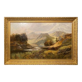 Oil on Canvas Pastoral Scene Cows Grazing at a Riverbank Signed For Sale