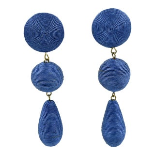 1980s Vintage Oversized Blue Thread Dangling Pierced Earrings For Sale