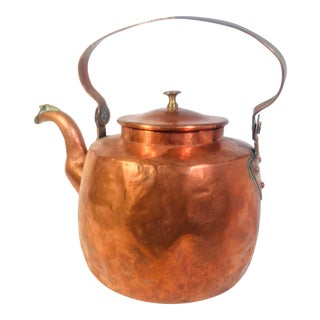 French Country Large Copper Tea Kettle For Sale