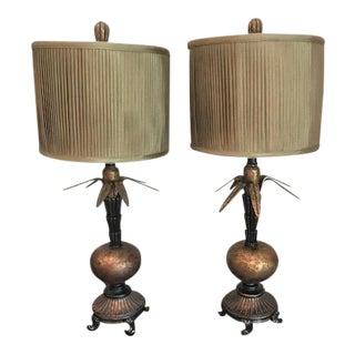 Unique Bronze Lamps - A Pair For Sale