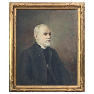 Antique Oil on Canvas Portrait Painting, Catholic Priest by Antonio Barone, 1935 For Sale