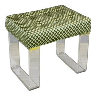 Infinity Style Green Brocade & Lucite Bench For Sale