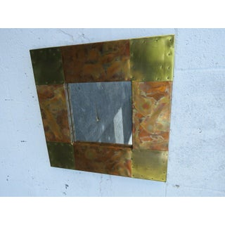 Brutalist Paul Evans Style Mid Century Modern Small Metal Wall Mirror Preview