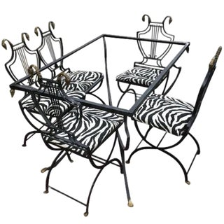 Art Deco Italian Wrought Iron Lyre Swan Back Dining Set by Copelon - 6 Pieces For Sale
