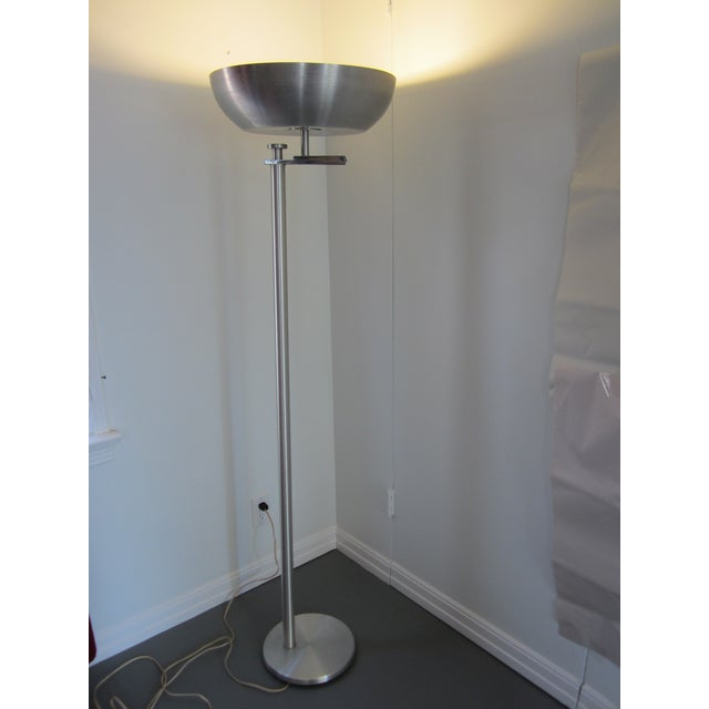 Contemporary Kurt Versen Spun Aluminium Flip Top Floor Lamp For Sale - Image 3 of 11