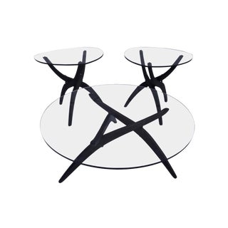 Adrian Pearsall Glass and Walnut Tripod Coffee Table & End Tables - 3 Pcs For Sale