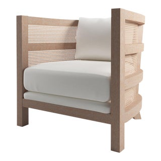 Costero Tub Chair - Natural Cerused Oak, Optic White Linen For Sale