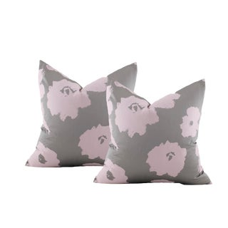 Pink and Silver Silk Warhol Flower Pillow Covers - a Pair For Sale