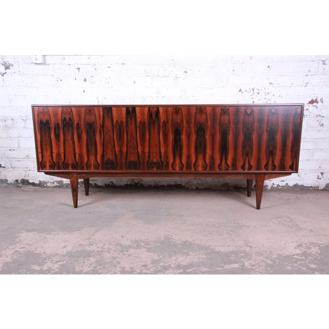 Danish Modern Rosewood Sideboard Credenza, Newly Refinished For Sale - Image 11 of 12