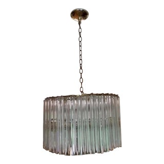 Vintage Mid Century Round Venini Murano Prism Chandelier For Sale