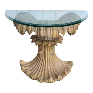 Mid-Century Glass Top Console Table For Sale