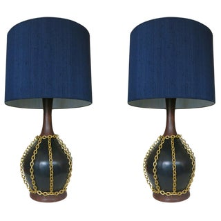 Large Mid-Century Pottery Gold Tone Chain Lamps with Shade For Sale