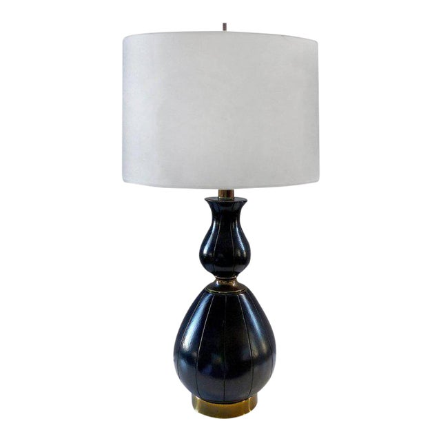 Elegant and Unusual 1940s Leather and Brass Table Lamp For Sale