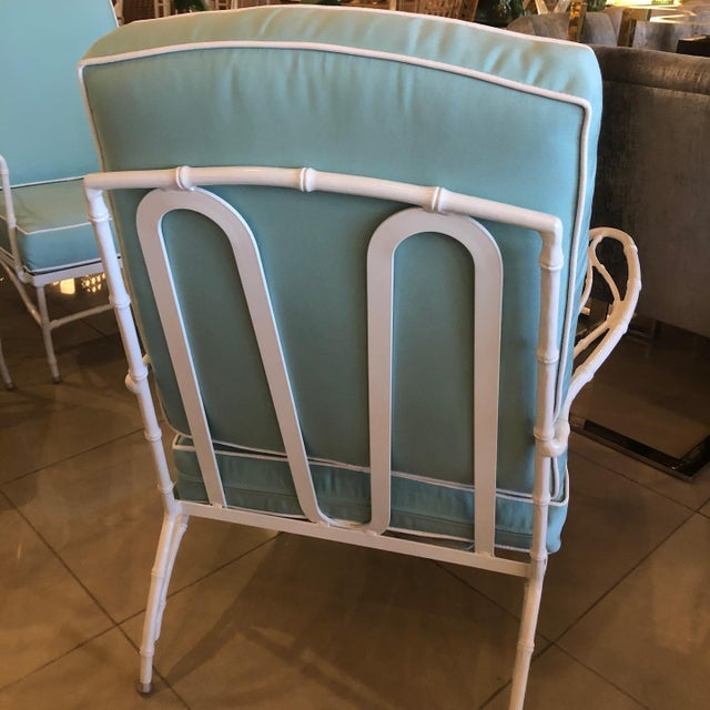 Vintage Sunbrella Faux Bamboo Powder-Coated Metal Lounge Patio Chairs - Set of 3 For Sale - Image 10 of 13