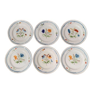 Set of Six French Hand Painted Ceramic Plates From Brittany For Sale