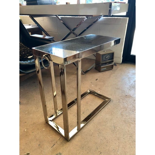 Contemporary Black Granite and Chrome C Table For Sale - Image 9 of 9