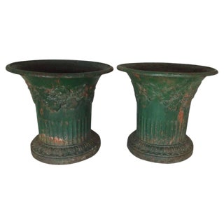 French Cast Iron Planters, Pair For Sale