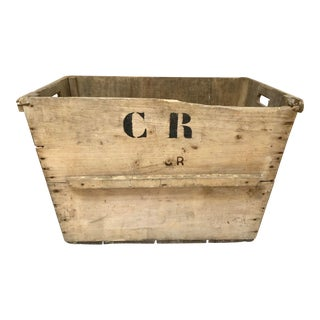 1930s Vintage French Champagne Wood Market Crate For Sale