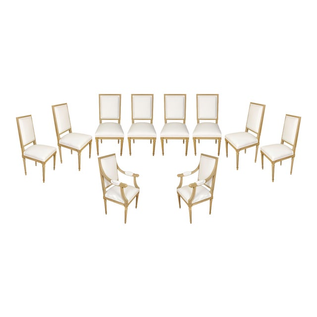 Set of Ten Louis XVI Style Dining Chairs For Sale