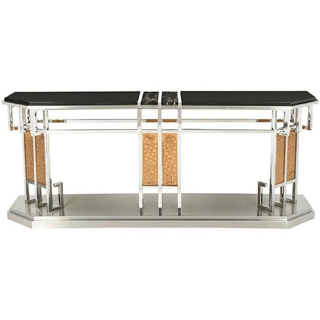 1980s Art Deco Lorin Marsh Mixed Metal and Mixed Stone Console Table For Sale In Houston - Image 6 of 6