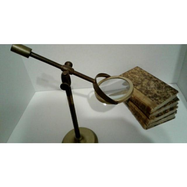 Brass Vintage Sarreid Ltd. Brass Magnifying Glass on Adjustable Stand For Sale - Image 8 of 10