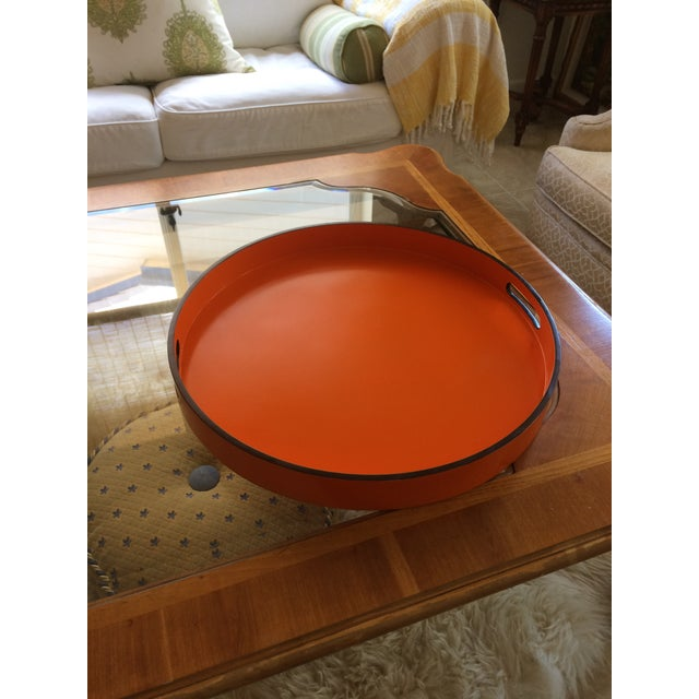 """Paint Hermes Orange Inspired 21"""" Round Bar Serving Tray For Sale - Image 7 of 13"""