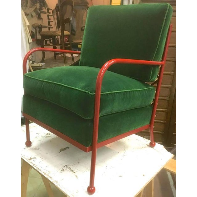 Lacquer Jean Royère Pair of Croisillon Armchairs in Red Lacquered Wrought Iron For Sale - Image 7 of 9