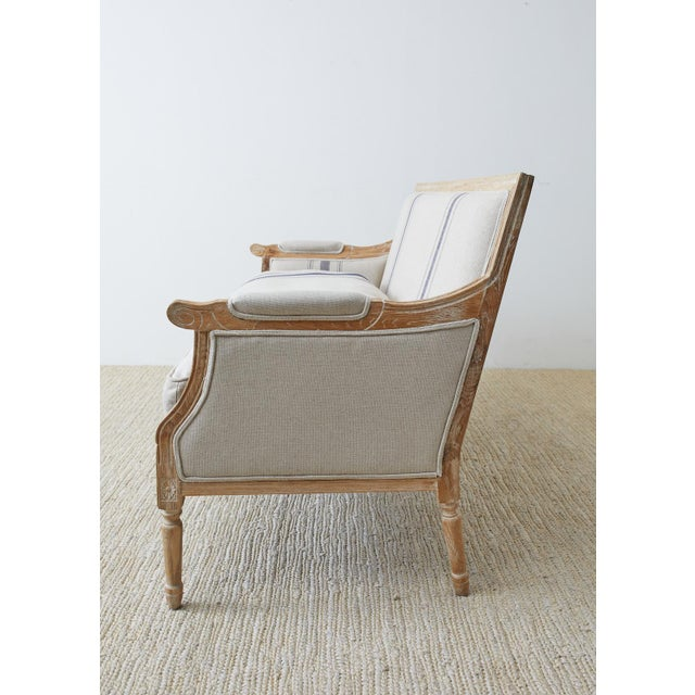 French Louis XVI Style Bleached Oak Settee Loveseat For Sale - Image 10 of 13