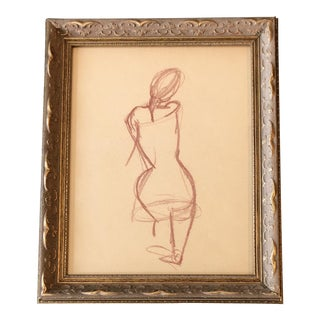 Vintage Original Female Nude Sepia Study Drawing For Sale