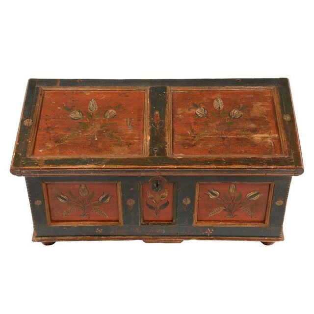 Folk Art 19th Century Scandinavian Polychrome Painted Trunk For Sale - Image 3 of 9