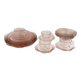 Pink Depression Glass Dishes - Set of 16