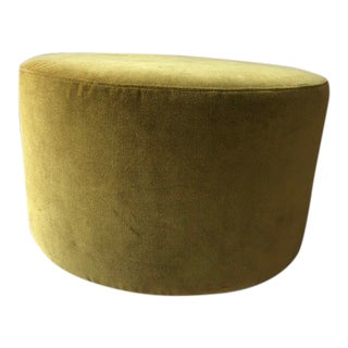 Modern Velvet Mustard Round Ottoman For Sale