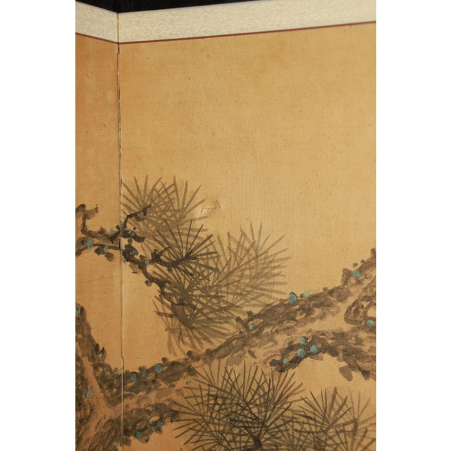Early 1900's Antique Japanese 10-Panel Painted Screen For Sale - Image 9 of 13