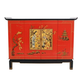 Black Red Lacquer Two Tone Cabinet Bachelor Chest Rolled Edge bracket Feet For Sale