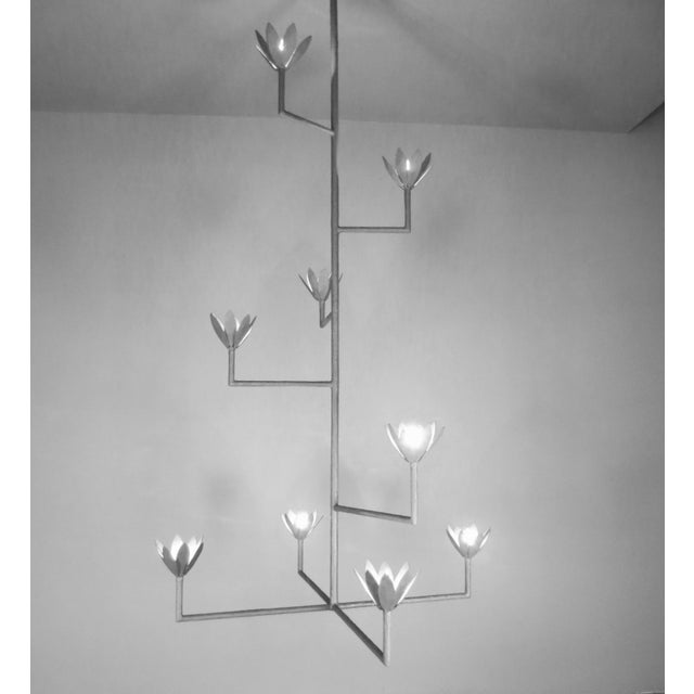 White 9 Bloom Plaster Chandelier For Sale - Image 8 of 8