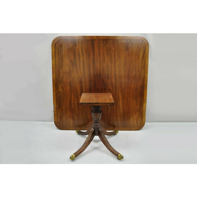 Antique Square Banded Mahogany Duncan Phyfe Dining Conference Room Table For Sale - Image 10 of 13