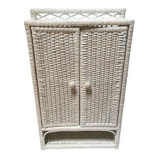 20th Century Boho Chic Wicker and Cane Medicine Cabinet For Sale