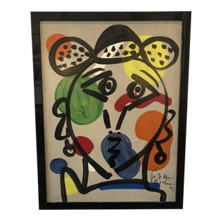 "1990s Vintage Peter Robert Keil ""Pablo Lucasso With a Hat"" Painting For Sale"