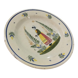 1940s French Henriot Quimper Porcelain Plate For Sale