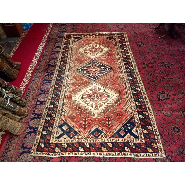 1940s Vintage Persian Shiraz Tribal Carpet - 5′2″ × 10′1″ For Sale - Image 9 of 9