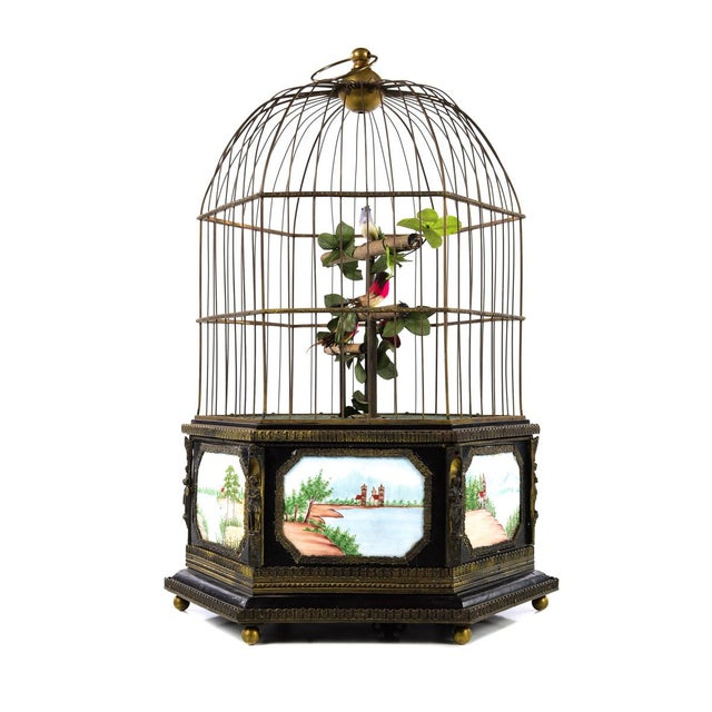 Antique Animated Bird Cage Music Box With Clock For Sale - Image 9 of 10