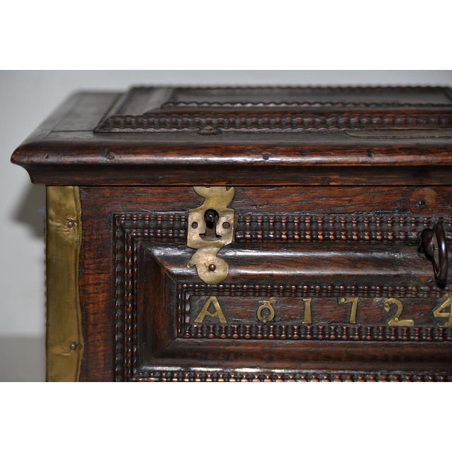 Early 18th Century Carved Walnut & Brass Alms Box C. 1724 For Sale - Image 4 of 13