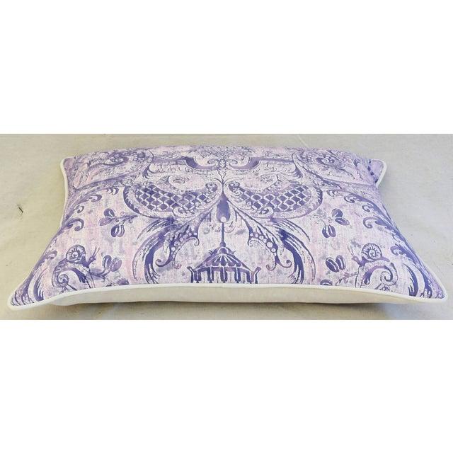 Lavender & White Italian Fortuny Mazzarino & Velvet Pillow - Image 7 of 9