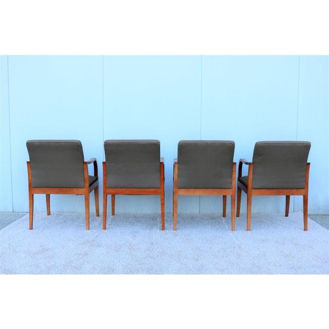 Gunlocke 19th Century Scandinavian Modern Gunlocke Guest Dining Arm Chairs - Set of 4 For Sale - Image 4 of 13