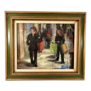 Original Oil on Canvas of Shopping Street Scene, Signed Irene Parks For Sale