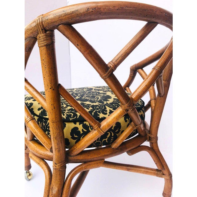 1970's Bamboo and Rattan Chippendale Swivel Desk Chair For Sale - Image 10 of 13
